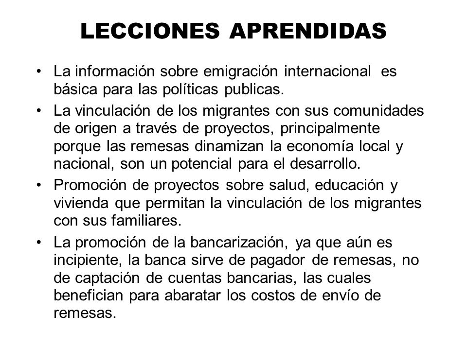 La información sobre emigración internacional es básica para las políticas publicas. La vinculación de los migrantes con sus comunidades de origen a t