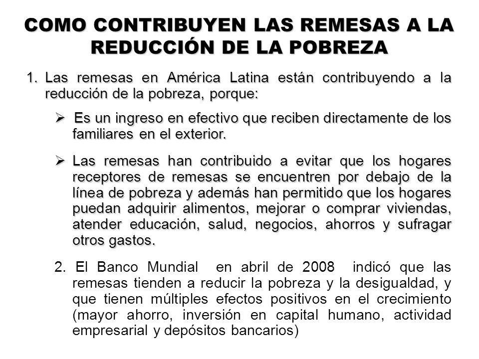 1.Las remesas en América Latina están contribuyendo a la reducción de la pobreza, porque: Es un ingreso en efectivo que reciben directamente de los familiares en el exterior.