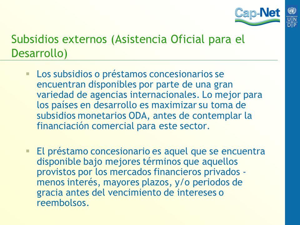 Subsidios externos (Asistencia Oficial para el Desarrollo) Los subsidios o préstamos concesionarios se encuentran disponibles por parte de una gran va