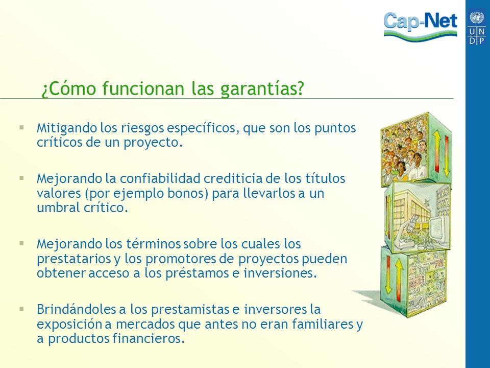 ¿Cómo funcionan las garantías? Mitigando los riesgos específicos, que son los puntos críticos de un proyecto. Mejorando la confiabilidad crediticia de