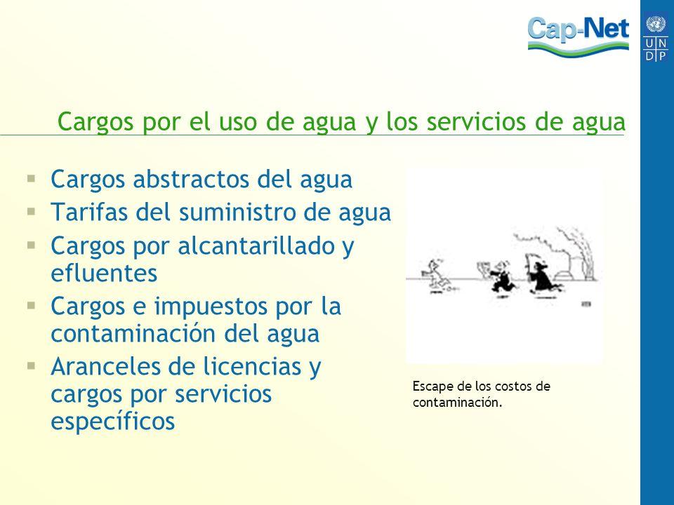 Cargos por el uso de agua y los servicios de agua Cargos abstractos del agua Tarifas del suministro de agua Cargos por alcantarillado y efluentes Carg