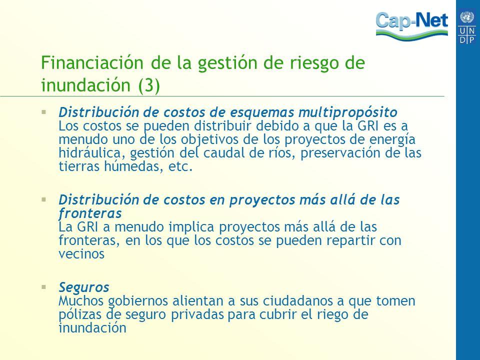 Financiación de la gestión de riesgo de inundación (3) Distribución de costos de esquemas multipropósito Los costos se pueden distribuir debido a que