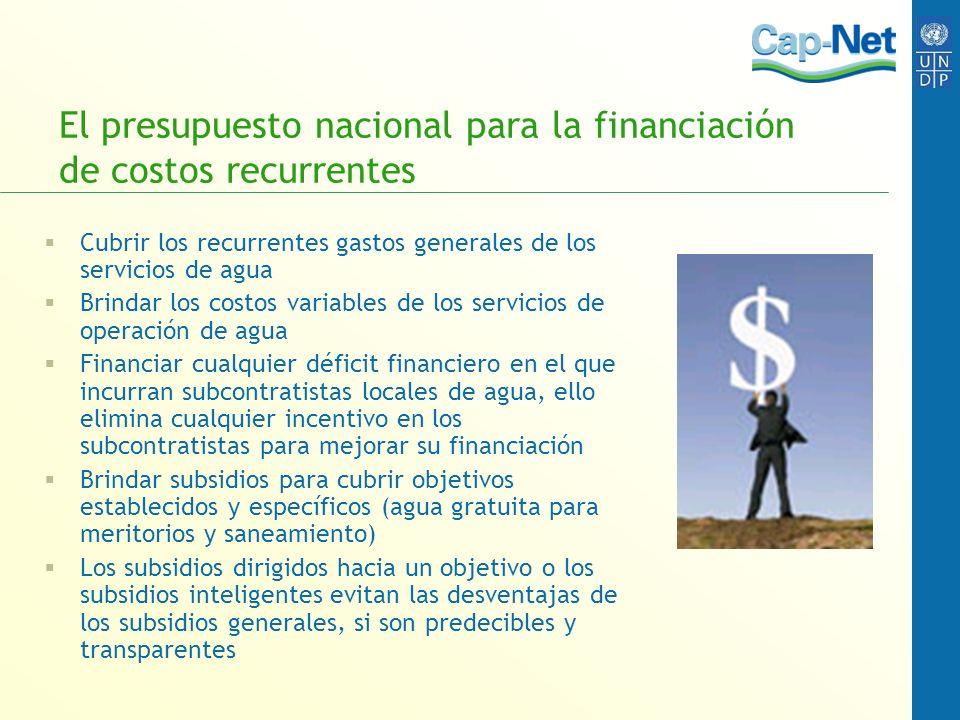 El presupuesto nacional para la financiación de costos recurrentes Cubrir los recurrentes gastos generales de los servicios de agua Brindar los costos