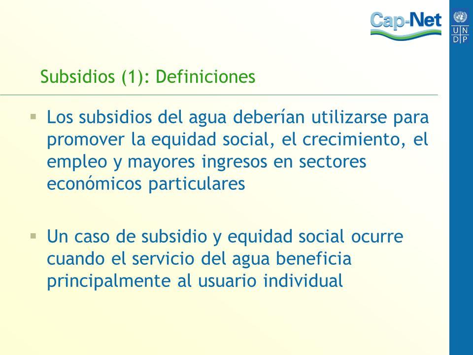 Subsidios (1): Definiciones Los subsidios del agua deberían utilizarse para promover la equidad social, el crecimiento, el empleo y mayores ingresos e