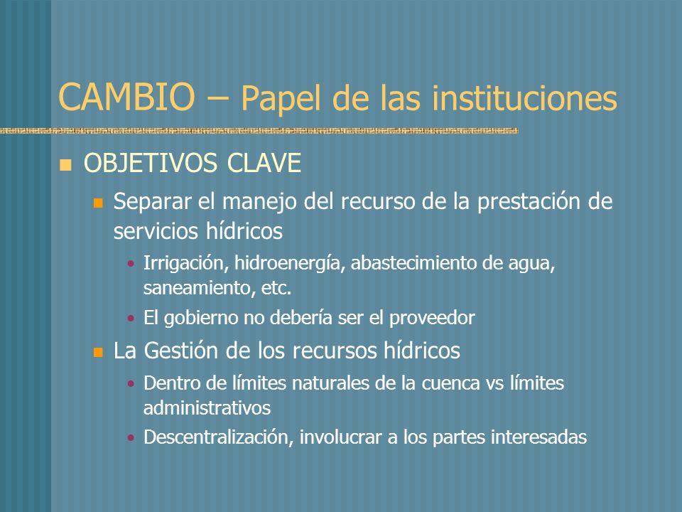 CAMBIO – Papel de las instituciones OBJETIVOS CLAVE Separar el manejo del recurso de la prestación de servicios hídricos Irrigación, hidroenergía, abastecimiento de agua, saneamiento, etc.
