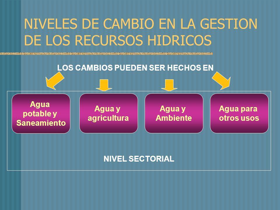 NIVEL SECTORIAL Agua para otros usos Agua potable y Saneamiento Agua y agricultura Agua y Ambiente NIVELES DE CAMBIO EN LA GESTION DE LOS RECURSOS HIDRICOS LOS CAMBIOS PUEDEN SER HECHOS EN