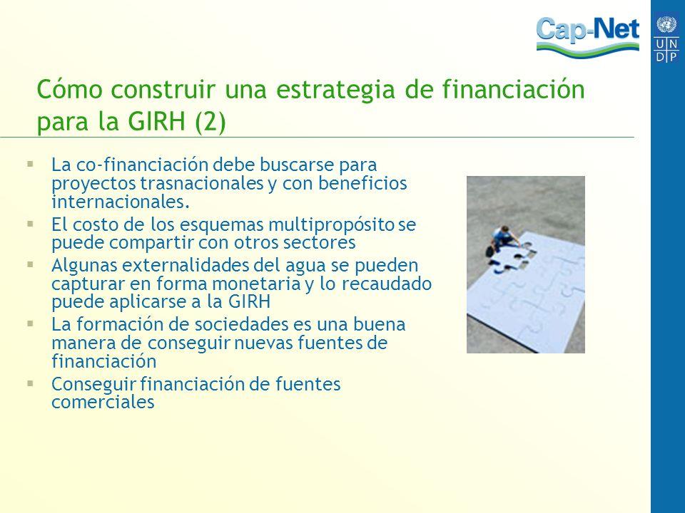 Cómo construir una estrategia de financiación para la GIRH (2) La co-financiación debe buscarse para proyectos trasnacionales y con beneficios interna