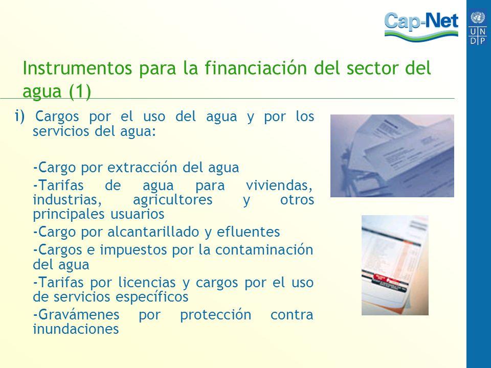 Instrumentos para la financiación del sector del agua (1) i) Cargos por el uso del agua y por los servicios del agua: -Cargo por extracción del agua -