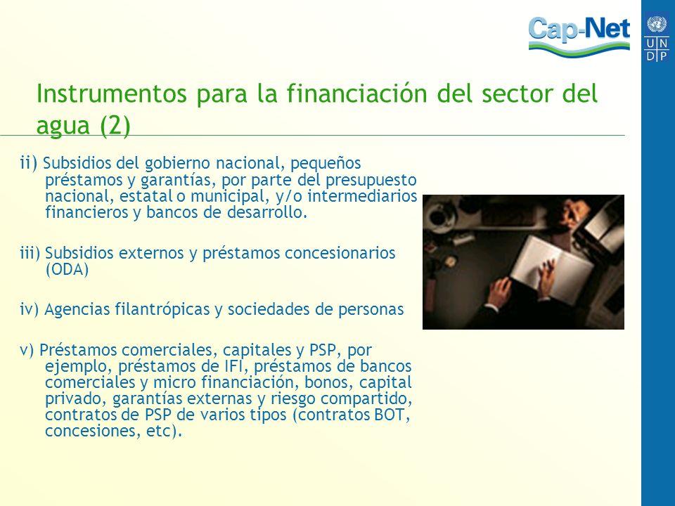 Instrumentos para la financiación del sector del agua (2) ii) Subsidios del gobierno nacional, pequeños préstamos y garantías, por parte del presupues