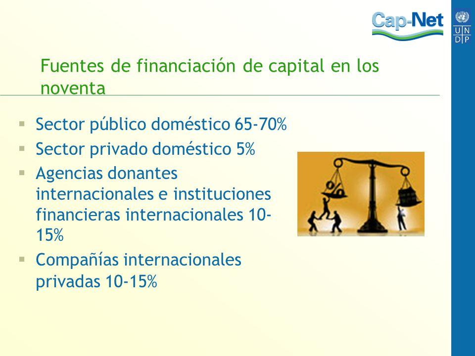 Fuentes de financiación de capital en los noventa Sector público doméstico 65-70% Sector privado doméstico 5% Agencias donantes internacionales e inst