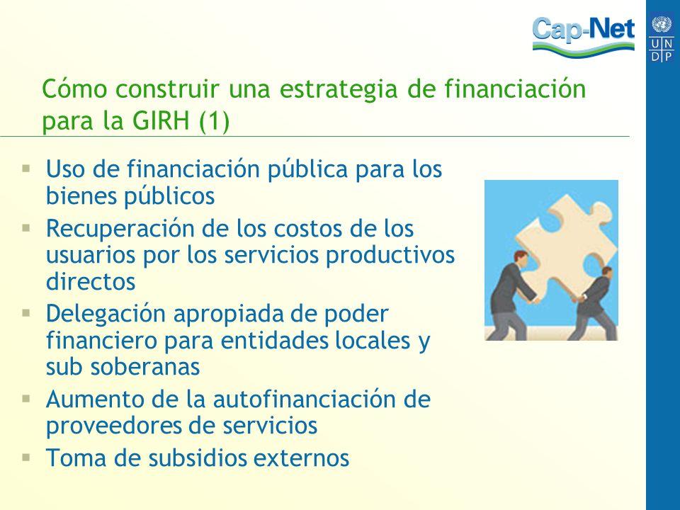 Cómo construir una estrategia de financiación para la GIRH (1) Uso de financiación pública para los bienes públicos Recuperación de los costos de los