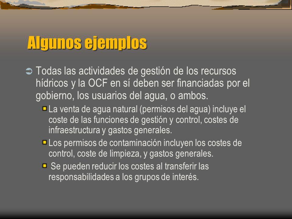 Algunos ejemplos Todas las actividades de gestión de los recursos hídricos y la OCF en sí deben ser financiadas por el gobierno, los usuarios del agua