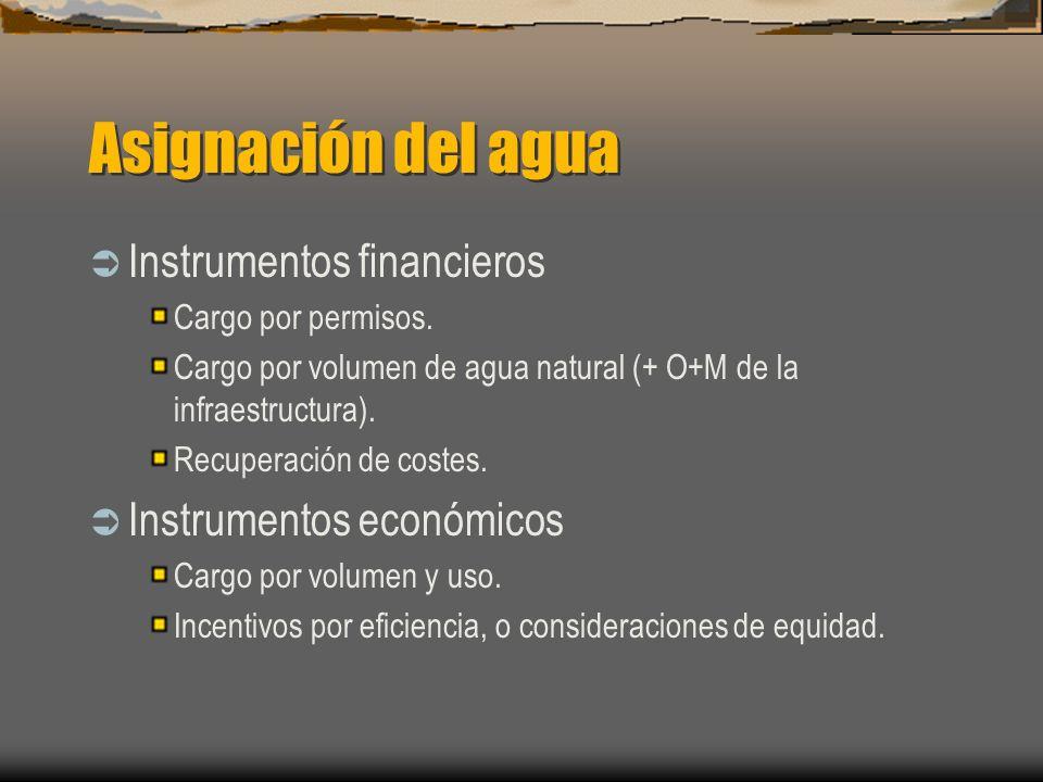 Asignación del agua Instrumentos financieros Cargo por permisos. Cargo por volumen de agua natural (+ O+M de la infraestructura). Recuperación de cost