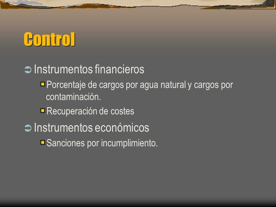Control Instrumentos financieros Porcentaje de cargos por agua natural y cargos por contaminación. Recuperación de costes Instrumentos económicos Sanc