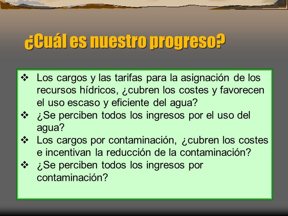 ¿Cuál es nuestro progreso? Los cargos y las tarifas para la asignación de los recursos hídricos, ¿cubren los costes y favorecen el uso escaso y eficie