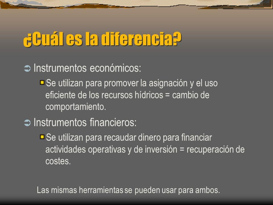 ¿Cuál es la diferencia? Instrumentos económicos: Se utilizan para promover la asignación y el uso eficiente de los recursos hídricos = cambio de compo
