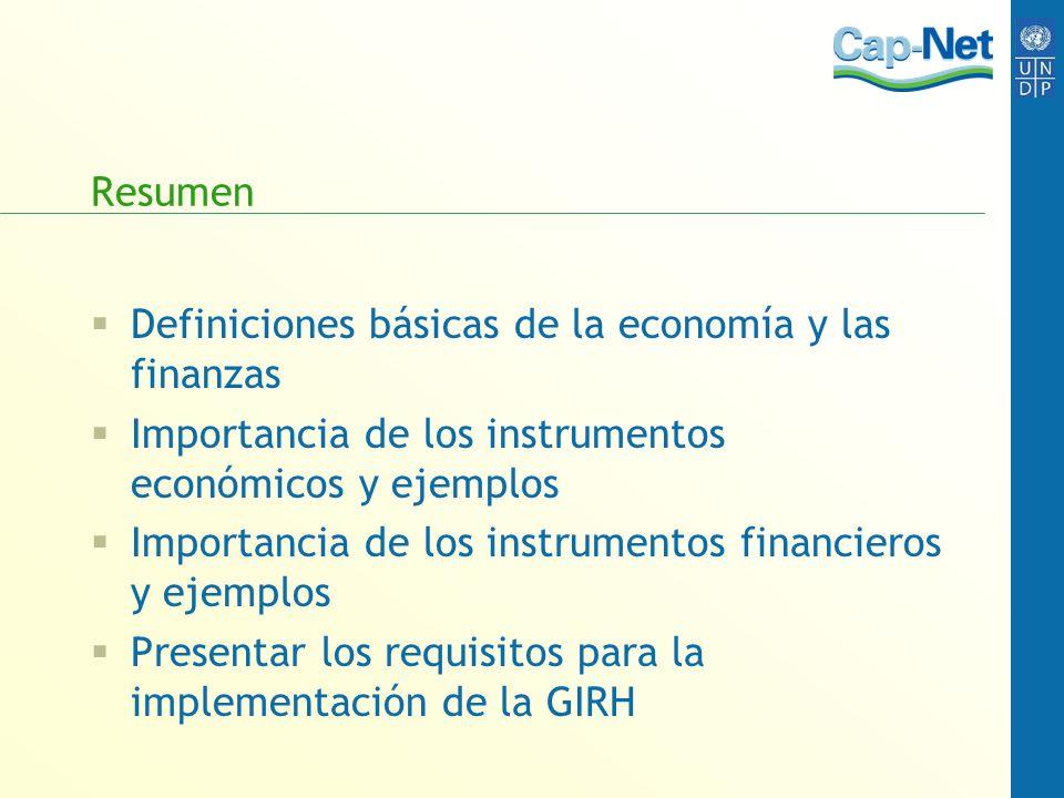Resumen Definiciones básicas de la economía y las finanzas Importancia de los instrumentos económicos y ejemplos Importancia de los instrumentos finan