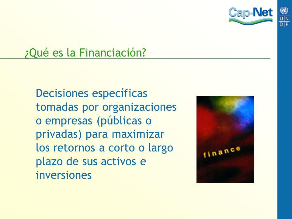 ¿Qué es la Financiación? Decisiones específicas tomadas por organizaciones o empresas (públicas o privadas) para maximizar los retornos a corto o larg
