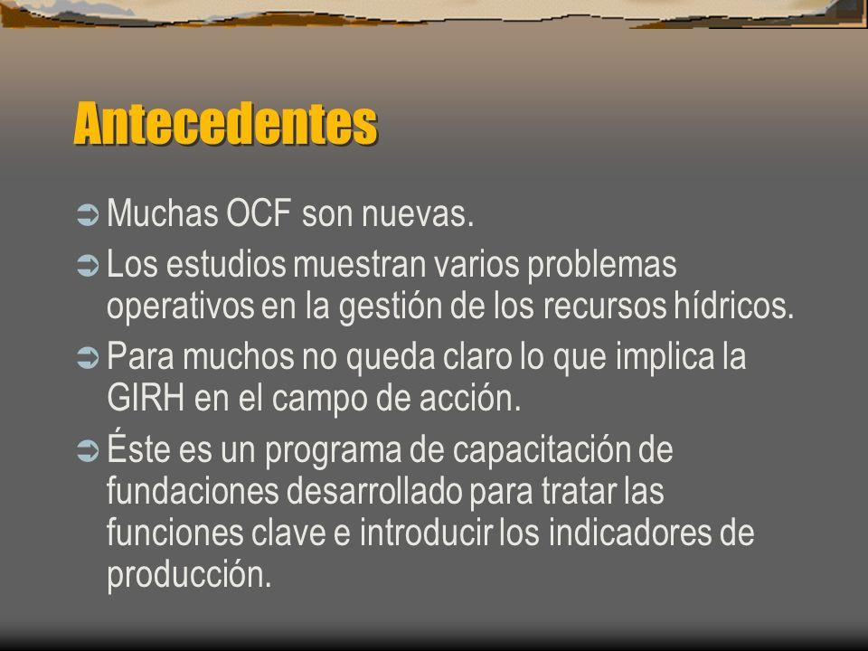 Síntesis de las conclusiones de los estudios Falta de comprensión de lo que constituye una OCF y de cuáles son las funciones de la gestión de los recursos hídricos.
