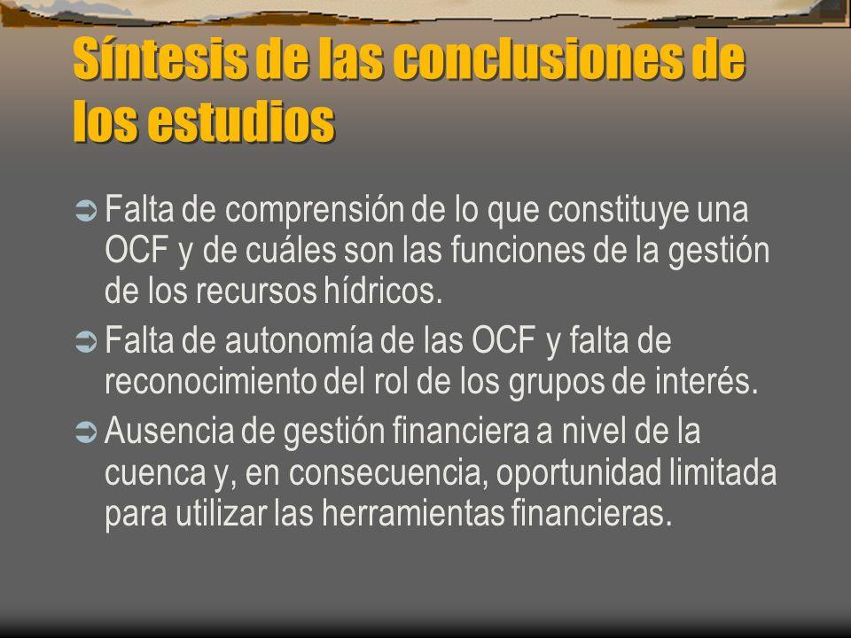 Síntesis de las conclusiones de los estudios La falta de recursos y responsabilidad limita el compromiso de la OCF con el espectro total de las funciones de gestión de los recursos hídricos.