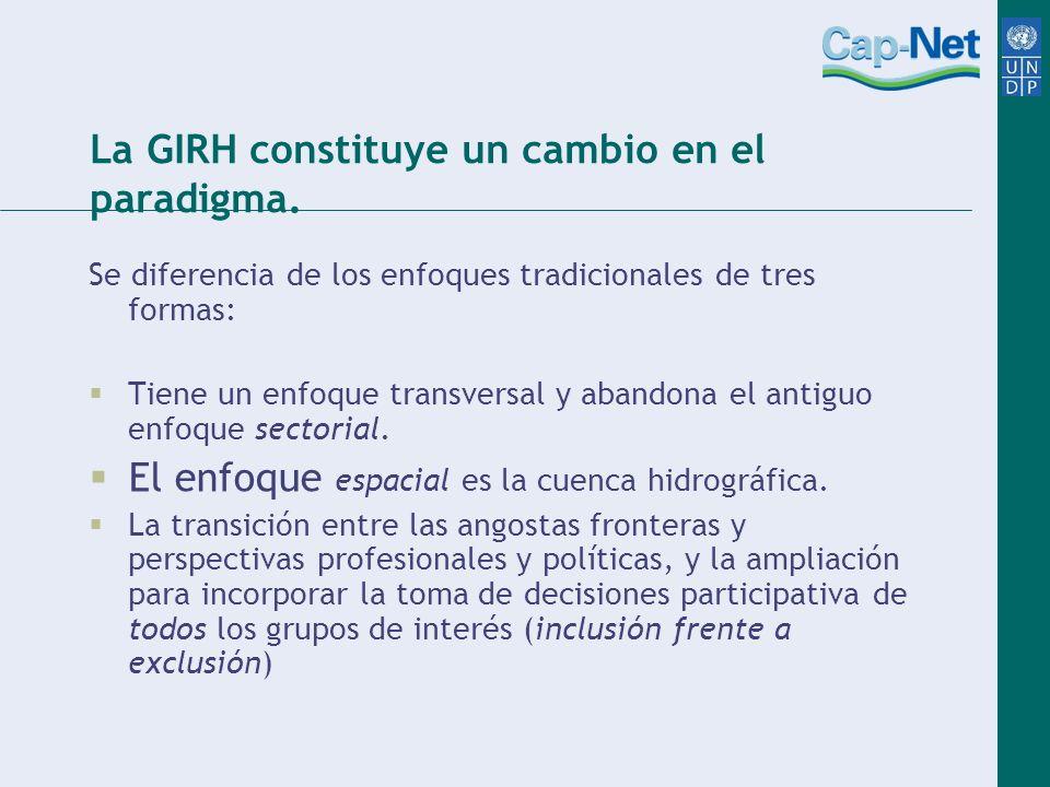 La GIRH constituye un cambio en el paradigma. Se diferencia de los enfoques tradicionales de tres formas: Tiene un enfoque transversal y abandona el a