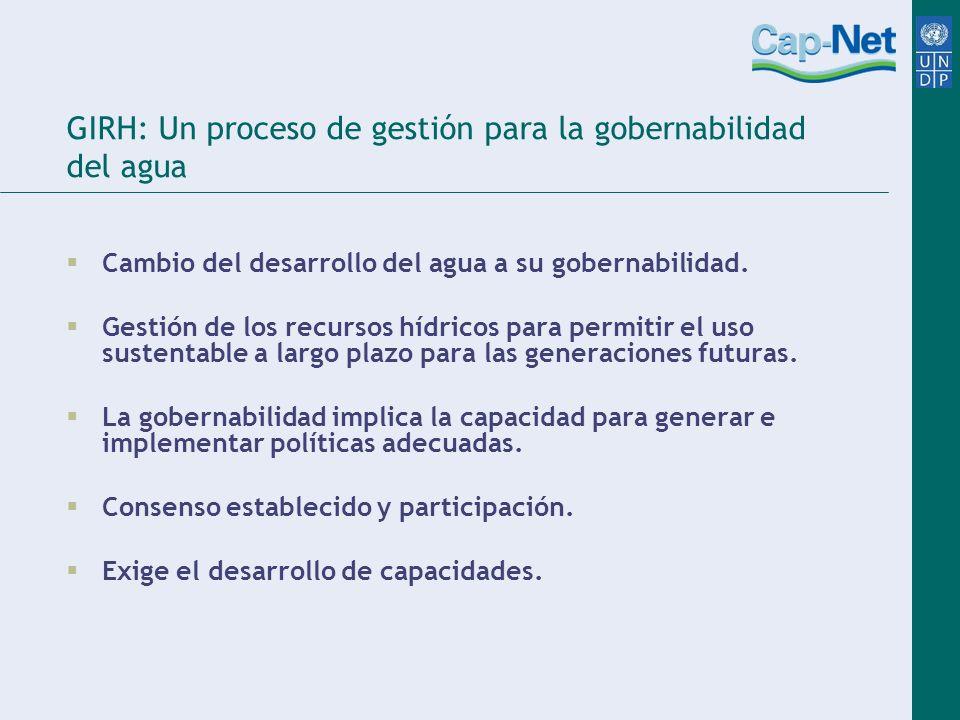 GIRH: Un proceso de gestión para la gobernabilidad del agua Cambio del desarrollo del agua a su gobernabilidad.