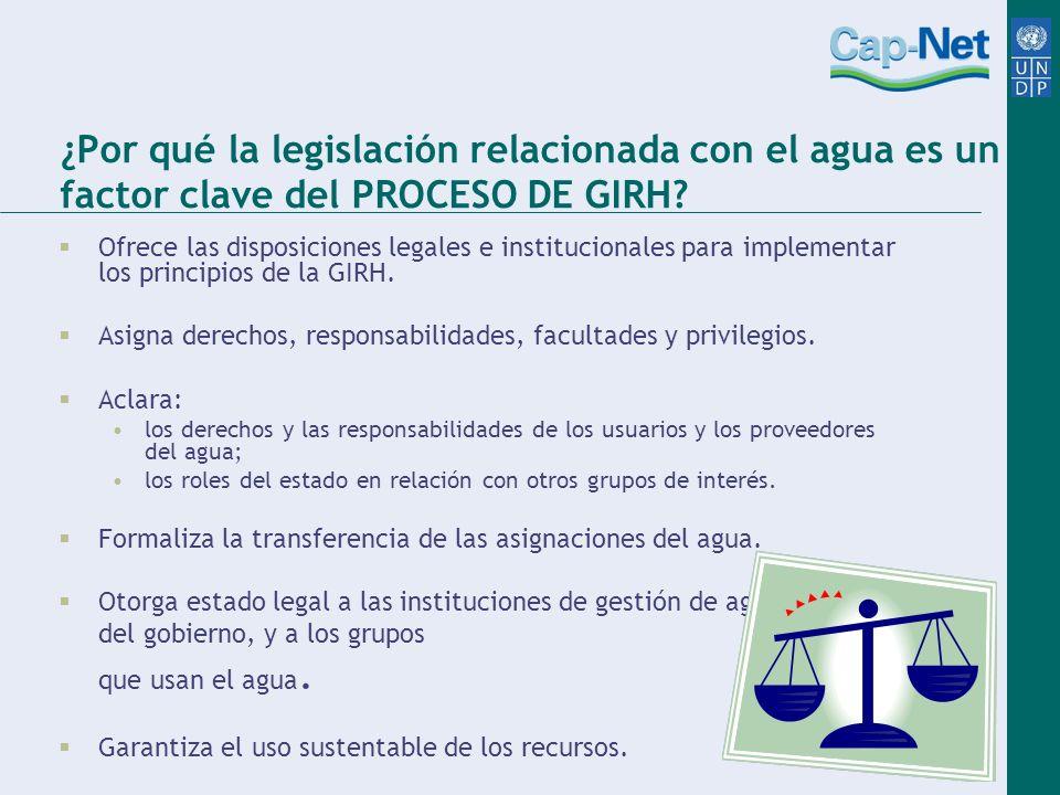 ¿Por qué la legislación relacionada con el agua es un factor clave del PROCESO DE GIRH? Ofrece las disposiciones legales e institucionales para implem