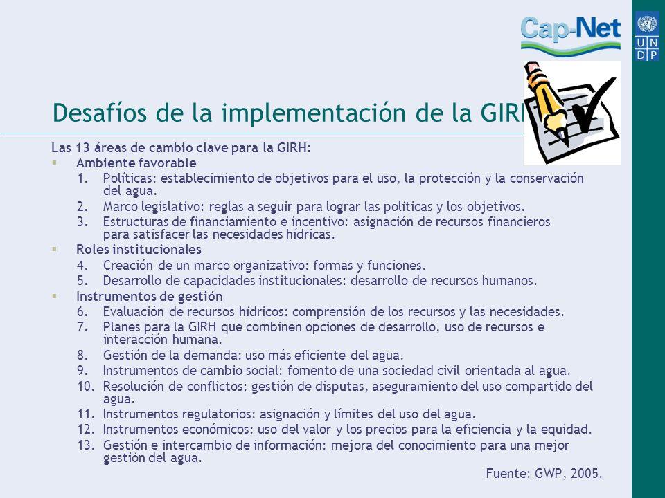 Desafíos de la implementación de la GIRH Las 13 áreas de cambio clave para la GIRH: Ambiente favorable 1. Políticas: establecimiento de objetivos para