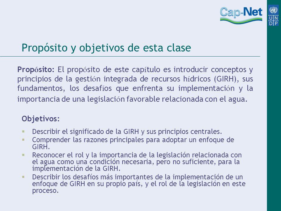 Propósito y objetivos de esta clase Objetivos: Describir el significado de la GIRH y sus principios centrales.