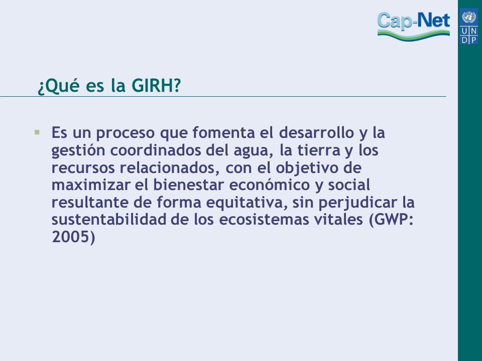 ¿Qué es la GIRH? Es un proceso que fomenta el desarrollo y la gestión coordinados del agua, la tierra y los recursos relacionados, con el objetivo de