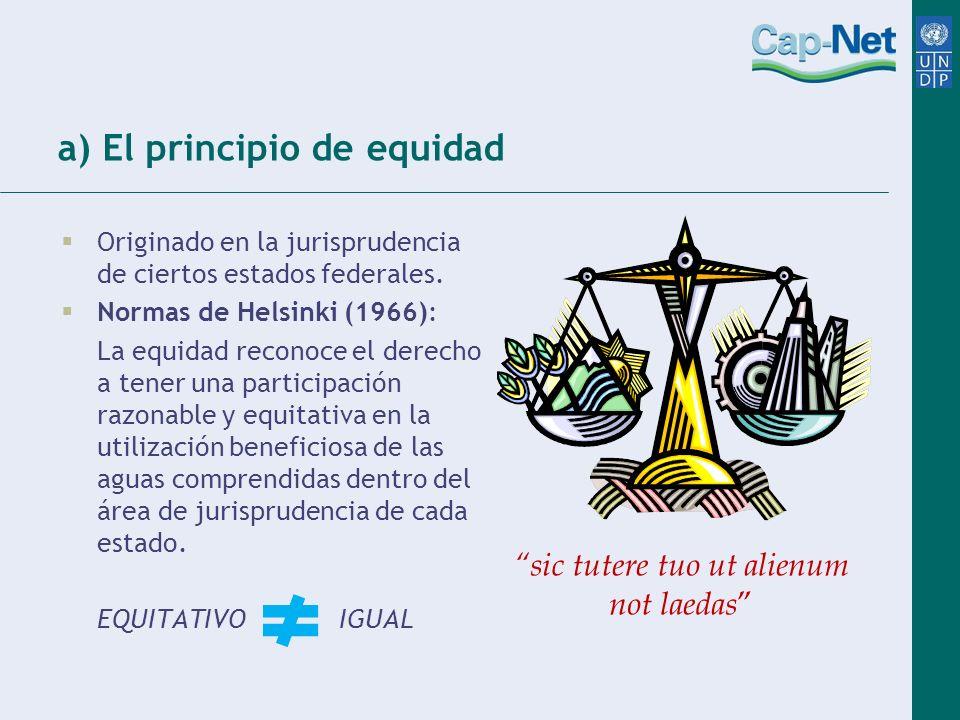 a) El principio de equidad Originado en la jurisprudencia de ciertos estados federales. Normas de Helsinki (1966): La equidad reconoce el derecho a te
