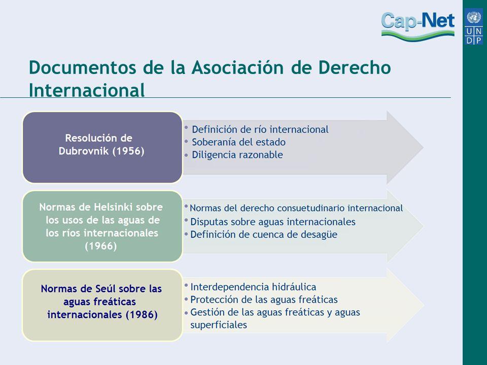 Declaraciones y disposiciones Las normas de Berlín: Conferencia sobre el derecho relacionado con los recursos hídricos, Asociación de Derecho Internacional (Berlín, 2004) Propuesta del tratado de Bellagio (1987) Declaración de Alicante.