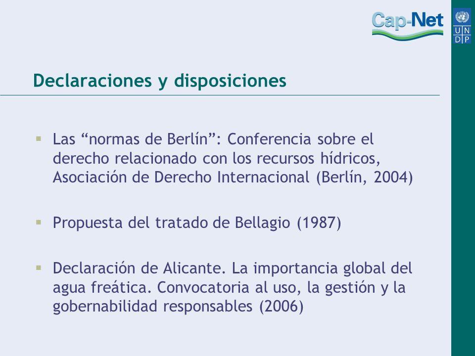 Declaraciones y disposiciones Las normas de Berlín: Conferencia sobre el derecho relacionado con los recursos hídricos, Asociación de Derecho Internac