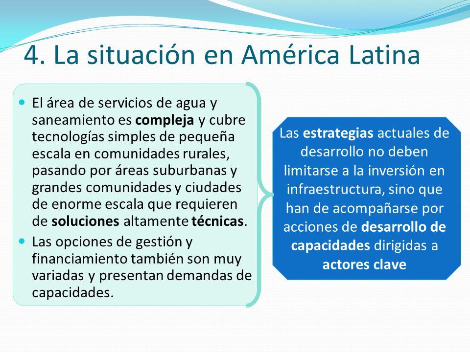 4. La situación en América Latina El área de servicios de agua y saneamiento es compleja y cubre tecnologías simples de pequeña escala en comunidades