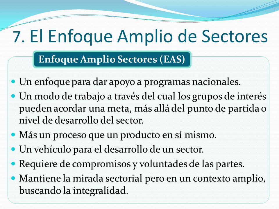7. El Enfoque Amplio de Sectores Enfoque Amplio Sectores (EAS) Un enfoque para dar apoyo a programas nacionales. Un modo de trabajo a través del cual