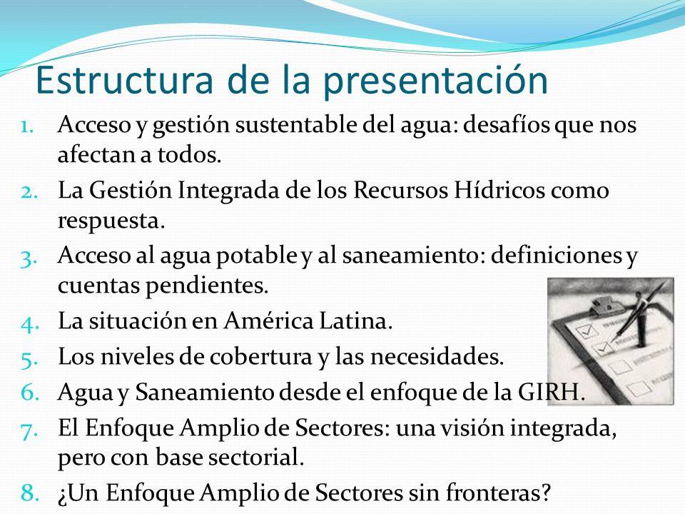 Estructura de la presentación 1.Acceso y gestión sustentable del agua: desafíos que nos afectan a todos. 2.La Gestión Integrada de los Recursos Hídric