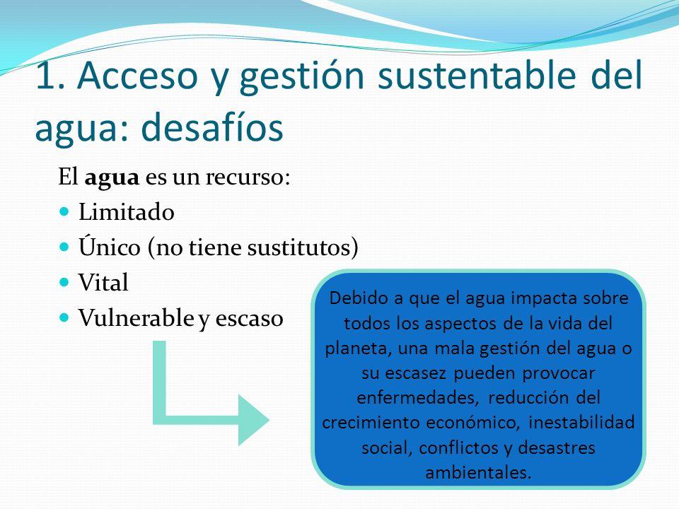 El agua es un recurso: Limitado Único (no tiene sustitutos) Vital Vulnerable y escaso 1. Acceso y gestión sustentable del agua: desafíos Debido a que