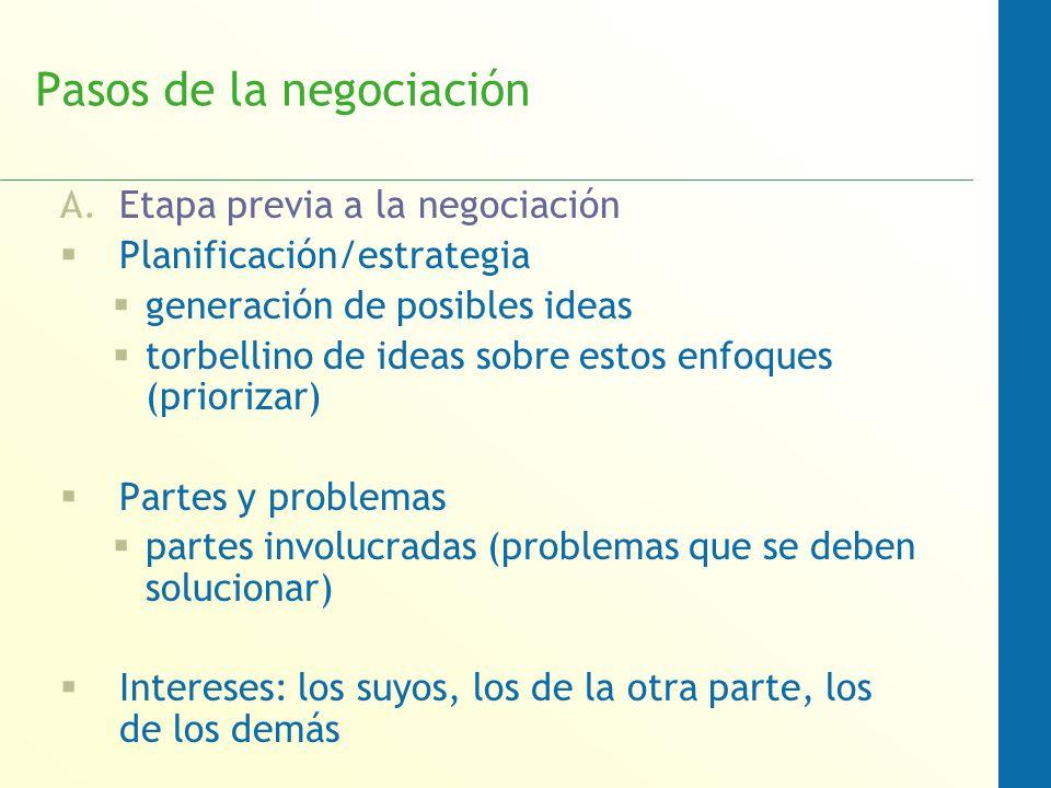 Pasos de la negociación A.Etapa previa a la negociación Planificación/estrategia generación de posibles ideas torbellino de ideas sobre estos enfoques