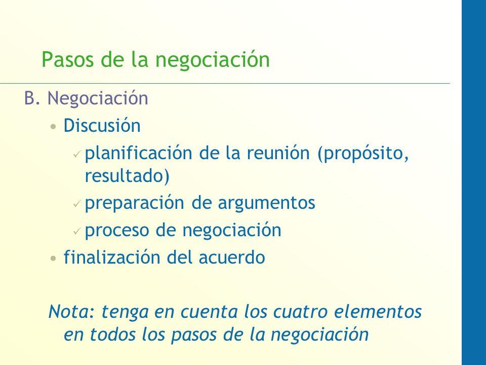 Pasos de la negociación B. Negociación Discusión planificación de la reunión (propósito, resultado) preparación de argumentos proceso de negociación f