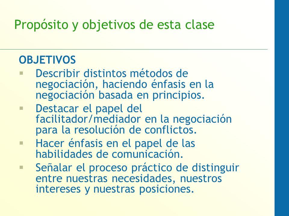 Propósito y objetivos de esta clase OBJETIVOS Describir distintos métodos de negociación, haciendo énfasis en la negociación basada en principios. Des