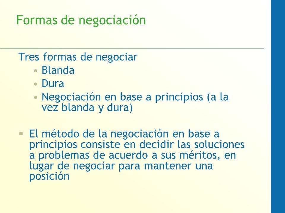Formas de negociación Tres formas de negociar Blanda Dura Negociación en base a principios (a la vez blanda y dura) El método de la negociación en bas