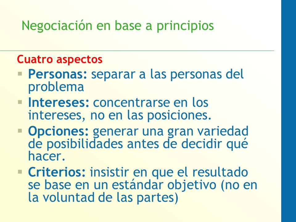 Negociación en base a principios Cuatro aspectos Personas: separar a las personas del problema Intereses: concentrarse en los intereses, no en las pos
