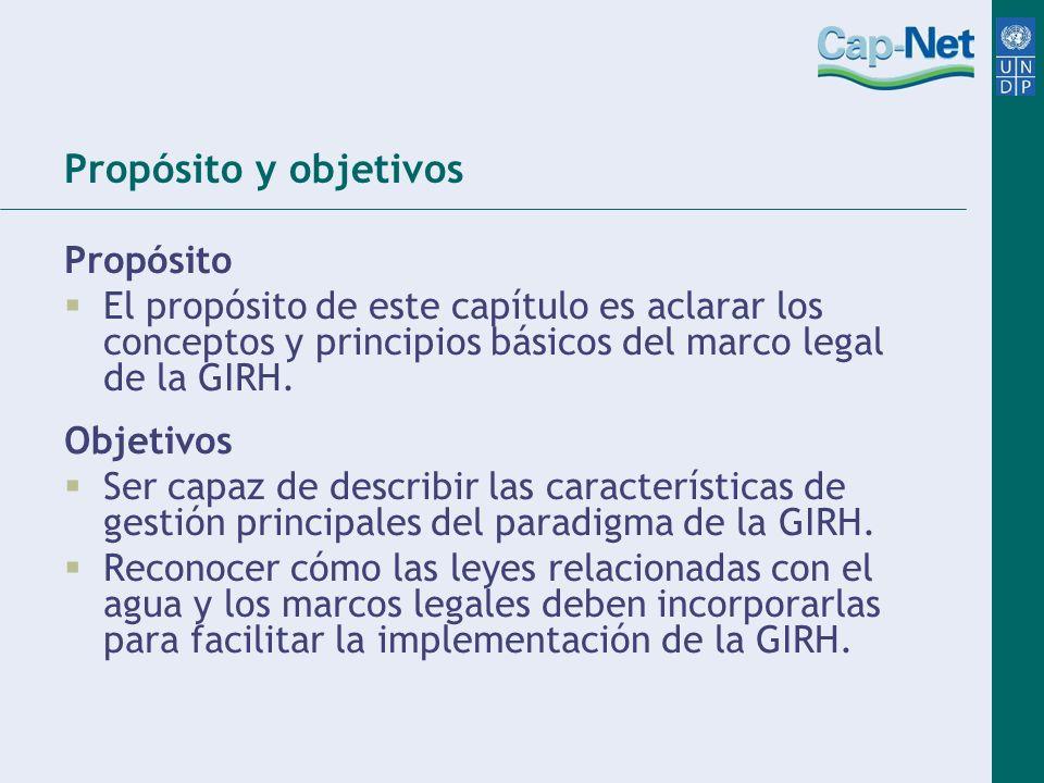 Propósito y objetivos Propósito El propósito de este capítulo es aclarar los conceptos y principios básicos del marco legal de la GIRH. Objetivos Ser