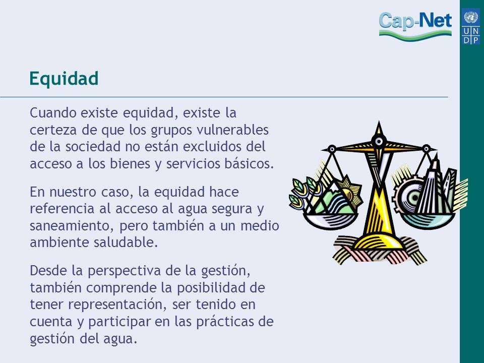 Equidad Cuando existe equidad, existe la certeza de que los grupos vulnerables de la sociedad no están excluidos del acceso a los bienes y servicios b
