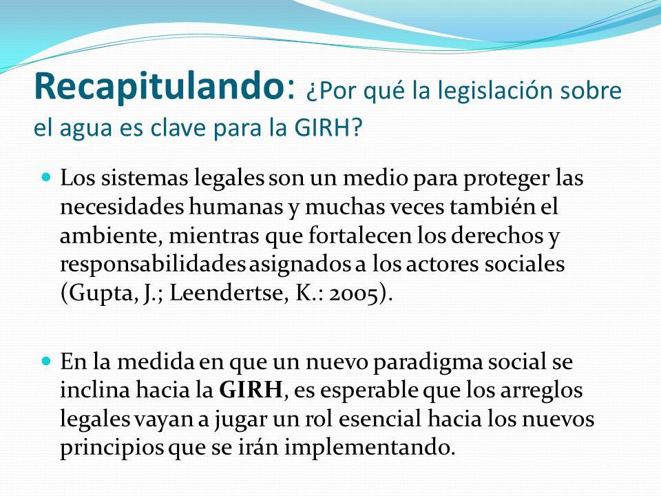 Recapitulando: ¿Por qué la legislación sobre el agua es clave para la GIRH? Los sistemas legales son un medio para proteger las necesidades humanas y
