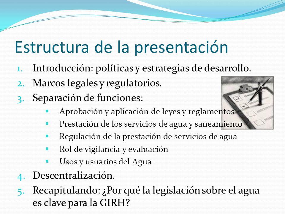 Estructura de la presentación 1.Introducción: políticas y estrategias de desarrollo. 2.Marcos legales y regulatorios. 3.Separación de funciones: Aprob