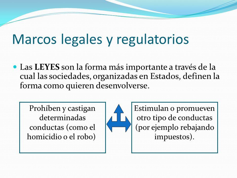 Marcos legales y regulatorios Las LEYES son la forma más importante a través de la cual las sociedades, organizadas en Estados, definen la forma como quieren desenvolverse.