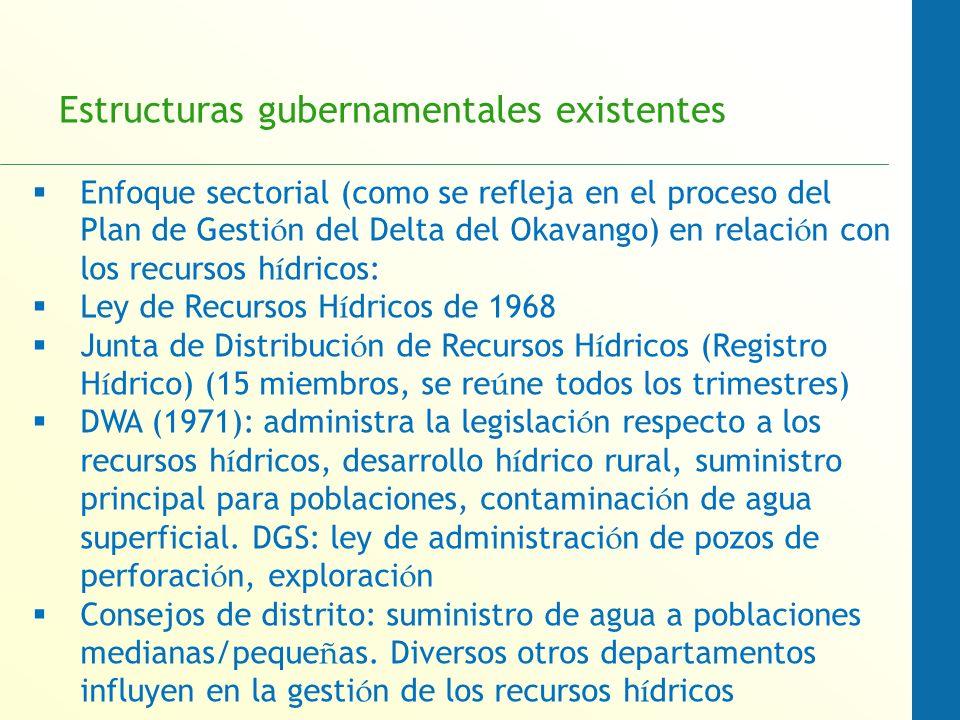 Estructuras gubernamentales existentes Enfoque sectorial (como se refleja en el proceso del Plan de Gesti ó n del Delta del Okavango) en relaci ó n con los recursos h í dricos: Ley de Recursos H í dricos de 1968 Junta de Distribuci ó n de Recursos H í dricos (Registro H í drico) (15 miembros, se re ú ne todos los trimestres) DWA (1971): administra la legislaci ó n respecto a los recursos h í dricos, desarrollo h í drico rural, suministro principal para poblaciones, contaminaci ó n de agua superficial.