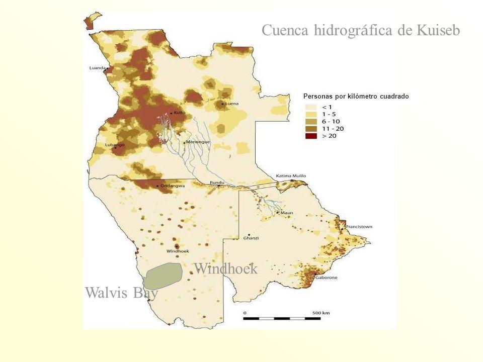 Walvis Bay Cuenca hidrogr á fica de Kuiseb Windhoek Personas por kilómetro cuadrado