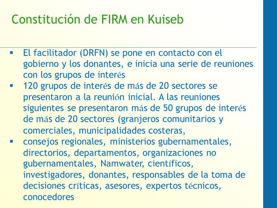 Constitución de FIRM en Kuiseb El facilitador (DRFN) se pone en contacto con el gobierno y los donantes, e inicia una serie de reuniones con los grupos de inter é s 120 grupos de inter é s de m á s de 20 sectores se presentaron a la reuni ó n inicial.